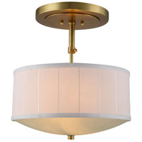 Manhattan 2 Light 15 inch Burnished Brass Pendant Ceiling Light, Urban Classic
