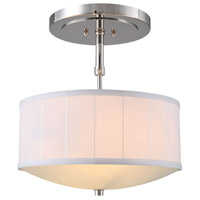 Manhattan 2 Light 15 inch Polished Nickel Pendant Ceiling Light, Urban Classic