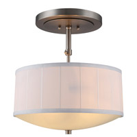 Manhattan 2 Light 15 inch Vintage Nickel Pendant Ceiling Light, Urban Classic