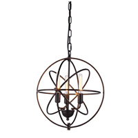 Elegant Lighting 1453D17DB Vienna 3 Light 17 inch Dark Bronze Pendant Ceiling Light, Urban Classic