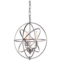 Urban Classic by Elegant Lighting Vienna 3 Light Pendant in Polished Nickel 1453D17PN