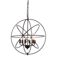 Elegant Lighting 1453D25DB Vienna 6 Light 25 inch Dark Bronze Pendant Ceiling Light, Urban Classic