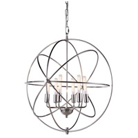 Elegant Lighting 1453D25PN Vienna 6 Light 25 inch Polished Nickel Pendant Ceiling Light, Urban Classic