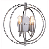 Elegant Lighting 1453W13PN Vienna 2 Light 13 inch Polished Nickel Wall Sconce Wall Light, Urban Classic