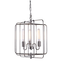 Urban Classic by Elegant Lighting Lewis 3 Light Pendant in Polished Nickel 1454D16PN