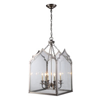 Elegant Lighting 1459D20VN Newport 6 Light 20 inch Vintage Nickel Pendant Ceiling Light in Vintage Bronze, Urban Classic