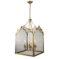 Elegant Lighting 1459D26BB Newport 6 Light 26 inch Burnished Brass Pendant Ceiling Light, Urban Classic