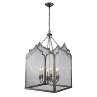 Elegant Lighting 1459D26VN Newport 6 Light 26 inch Vintage Nickel Pendant Ceiling Light, Urban Classic