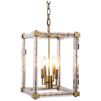 Urban Classic by Elegant Lighting Cristal 4 Light Foyer Lantern in Burnished Brass with Clear Crystal 1461D13BB