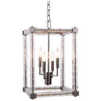 Urban Classic by Elegant Lighting Cristal 4 Light Foyer Lantern in Polished Nickel with Clear Crystal 1461D13PN