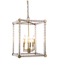Urban Classic by Elegant Lighting Cristal 6 Light Foyer Lantern in Burnished Brass with Clear Crystal 1461D18BB