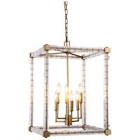 Elegant Lighting 1461D18BB Cristal 6 Light 18 inch Burnished Brass Foyer Lantern Ceiling Light, Urban Classic