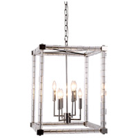 Elegant Lighting 1461D18PN Cristal 6 Light 18 inch Polished Nickel Foyer Lantern Ceiling Light, Urban Classic