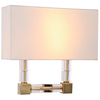 Urban Classic by Elegant Lighting Cristal 2 Light Wall Sconce in Burnished Brass with Clear Crystal 1461W13BB