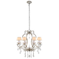 Diana 8 Light 31 inch Vintage Silver Leaf Chandelier Ceiling Light, Urban Classic