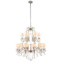 Urban Classic by Elegant Lighting Diana 18 Light Chandelier in Vintage Silver Leaf with Royal Cut Clear Crystal 1471G39SL
