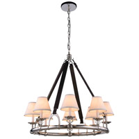 Elegant Lighting 1473D33PN Cascade 8 Light 33 inch Polished Nickel Pendant Ceiling Light Urban Classic