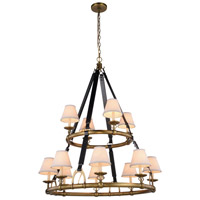Urban Classic by Elegant Lighting Cascade 12 Light Pendant in Burnished Brass 1473G37BB