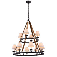 Urban Classic by Elegant Lighting Cascade 12 Light Pendant in Bronze 1473G37BZ