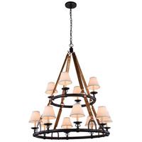 Elegant Lighting 1473G37BZ Cascade 12 Light 37 inch Bronze Pendant Ceiling Light, Urban Classic