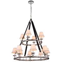Elegant Lighting 1473G37PN Cascade 12 Light 37 inch Polished Nickel Pendant Ceiling Light Urban Classic
