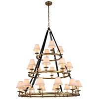 Cascade 24 Light 52 inch Burnished Brass Pendant Ceiling Light, Urban Classic