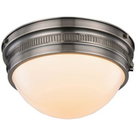 Pria 2 Light 13 inch Vintage Nickel Flush Mount Ceiling Light, Urban Classic