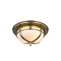 Bella 2 Light 11 inch Burnished Brass Flush Mount Ceiling Light, Urban Classic