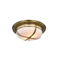 Bella 2 Light 15 inch Burnished Brass Flush Mount Ceiling Light, Urban Classic
