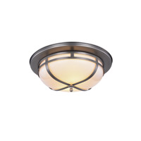 Bella 2 Light 15 inch Vintage Nickel Flush Mount Ceiling Light, Urban Classic