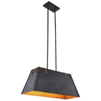 Chesapeake 4 Light 12 inch Vintage Bronze and Golden Iron Pendant Ceiling Light, Urban Classic