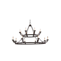 Charleston 16 Light 66 inch Vintage Bronze Pendant Ceiling Light, Urban Classic