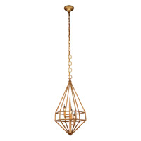 Elegant Lighting 1492D14GI Marquis 3 Light 14 inch Golden Iron Pendant Ceiling Light, Urban Classic