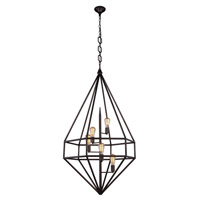 Urban Classic by Elegant Lighting Marquis 5 Light Pendant in Aged Iron 1492D30AI