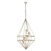 Elegant Lighting 1492D30SL Marquis 5 Light 30 inch Vintage Silver Leaf Pendant Ceiling Light, Urban Classic