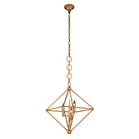 Elegant Lighting 1495D22GI Nora 3 Light 22 inch Golden Iron Pendant Ceiling Light, Urban Classic