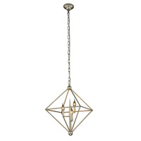 Elegant Lighting 1495D22SL Nora 3 Light 22 inch Vintage Silver Leaf Pendant Ceiling Light, Urban Classic