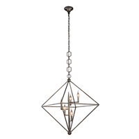 Elegant Lighting 1495D30AI Nora 5 Light 30 inch Aged Iron Pendant Ceiling Light, Urban Classic