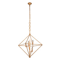 Elegant Lighting 1495D30GI Nora 5 Light 30 inch Golden Iron Pendant Ceiling Light, Urban Classic