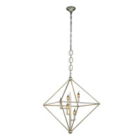 Elegant Lighting 1495D30SL Nora 5 Light 30 inch Vintage Silver Leaf Pendant Ceiling Light, Urban Classic