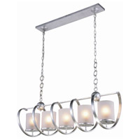 Europa 5 Light 13 inch Vintage Silver Leaf Pendant Ceiling Light, Urban Classic