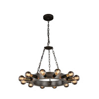 Elegant Lighting 1500D25AI Winston 12 Light 25 inch Aged Iron Pendant Ceiling Light, Urban Classic