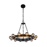 Elegant Lighting 1500D25VBGI Winston 12 Light 25 inch Golden Iron and Vintage Bronze Pendant Ceiling Light, Urban Classic