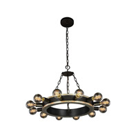 Winston 12 Light 25 inch Silver Leaf and Vintage Bronze Pendant Ceiling Light, Urban Classic