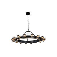 Elegant Lighting 1500D35VBSL Winston 16 Light 35 inch Silver Leaf and Vintage Bronze Pendant Ceiling Light, Urban Classic