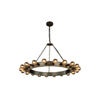 Winston 20 Light 40 inch Aged Iron Pendant Ceiling Light, Urban Classic