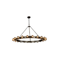 Winston 24 Light 55 inch Aged Iron Pendant Ceiling Light, Urban Classic