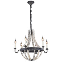 Woodland 6 Light 24 inch Ivory Wash and Steel Grey Pendant Ceiling Light, Urban Classic