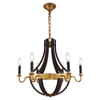 Woodland 6 Light 24 inch Saddle Rust and Golden Iron Chandelier Ceiling Light, Urban Classic