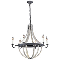 Elegant Lighting 1502D31IW Woodland 6 Light 31 inch Ivory Wash and Steel Grey Pendant Ceiling Light Urban Classic